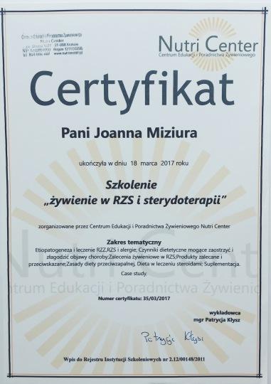 dietetyk Kraków, certyfikaty, żywienie w RZS i sterydoterapii