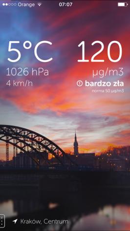 Kraków, smog, aplikacja